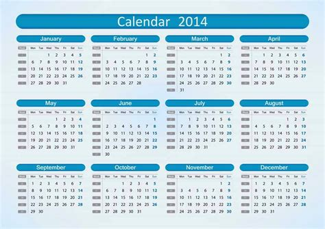 2014 Calendar With Week Numbers Printed Calendar 2014 Free Desktop Calendar 2014 For