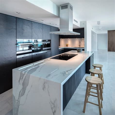 contemporary kitchen wall cabinets modern house waterfall edge countertop kitchen contemporary with walk