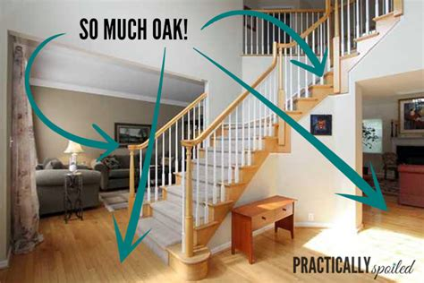 how to restain stair banister how to gel stain ugly oak banisters