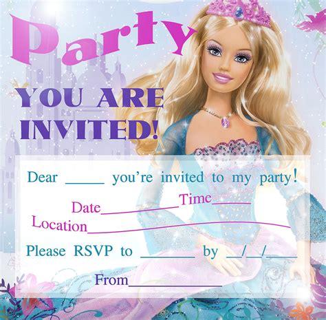 printable birthday invitations barbie barbie birthday invitations template best template
