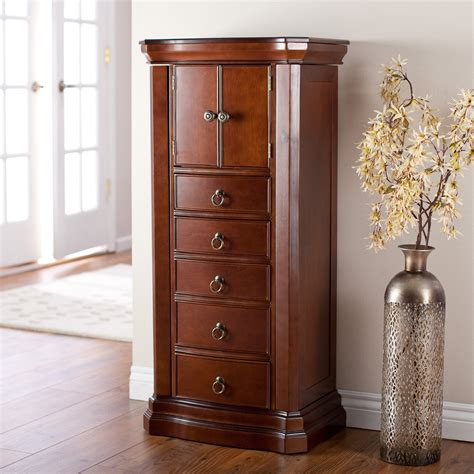 armoire jewelry belham living luxe 2 door jewelry armoire mahogany finish jewelry armoires at