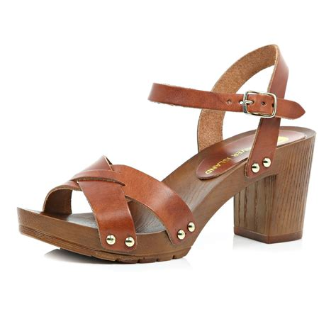 clog heels sandals river island brown leather wooden heel clog sandals in