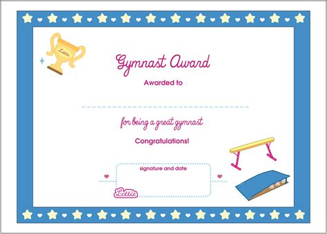 gymnast printable award certificate lottie dolls