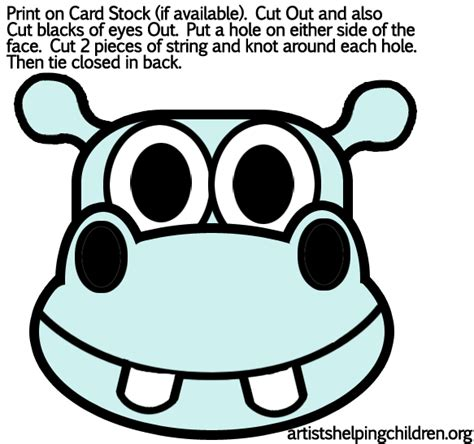 hippo mask template printable hippo crafts for kids make your own hippos hippopotamus