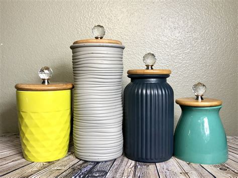 Texture Canister Set modern mixed texture kitchen canisters lime green grey