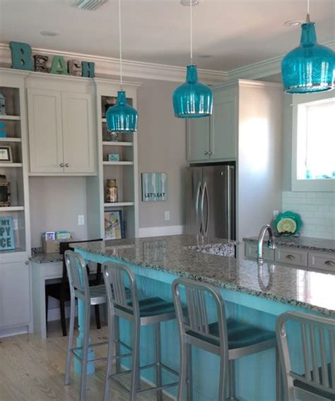 blue pendant lights kitchen beachy blue kitchen blue kitchen island and blue glass
