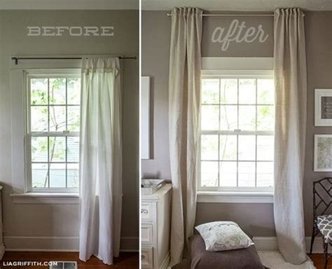 Hanging Curtains Higher Than Window Decor Hang Curtains Up To The Ceiling To Make A Low Ceiling Look Taller Low Ceiling Ideas