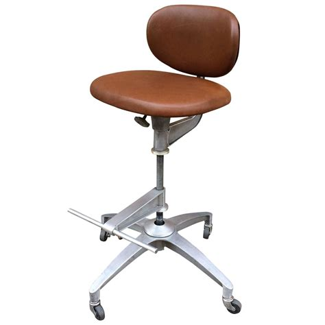 Leather Drafting Chair by Shaw Walker Adjustable Aluminum And Leather Drafting Stool