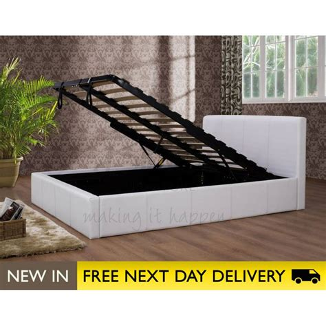 4ft ottoman storage bed ottoman white 4ft faux leather storage bed cheapest