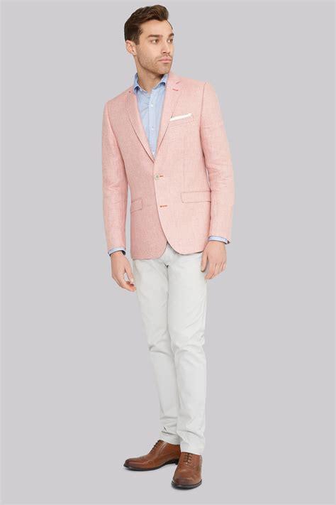 light pink blazer mens moss 1851 tailored fit pink linen jacket
