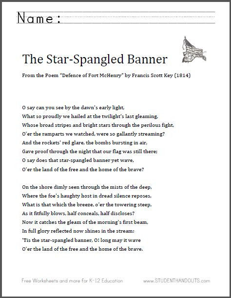 printable lyrics star spangled banner lyrics printable version the star