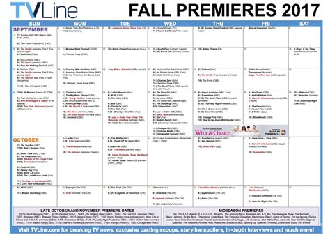 tv guide fall 2016 2017 fall tv premiere dates 2017 schedule of tvline autos post