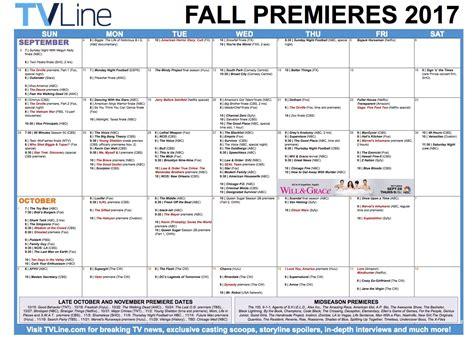 Fall Calendar Fall Tv Premiere Dates 2017 Schedule Of Season Series