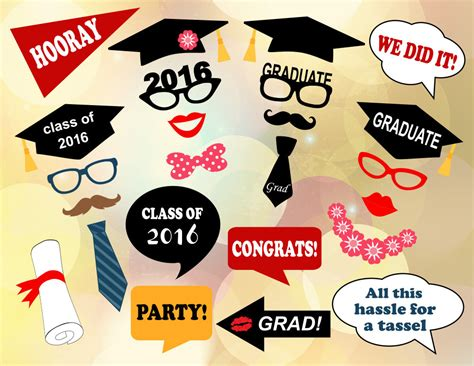 graduation photo booth props printable pdf printable graduation photo booth props 2016 by