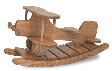 wooden airplane rocker solid oak wood  dutchcrafters amish