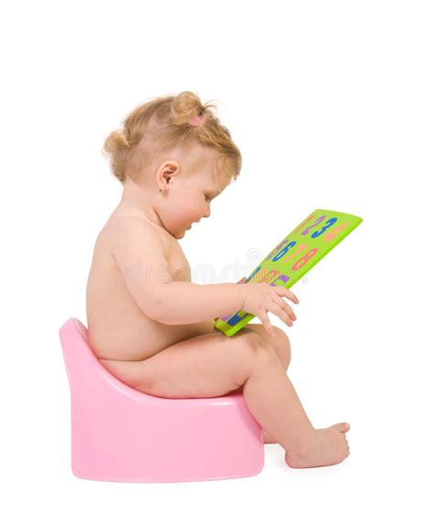Bathtub For Infant Baby Sit On Pink Potty And Look To Digits Toy Stock