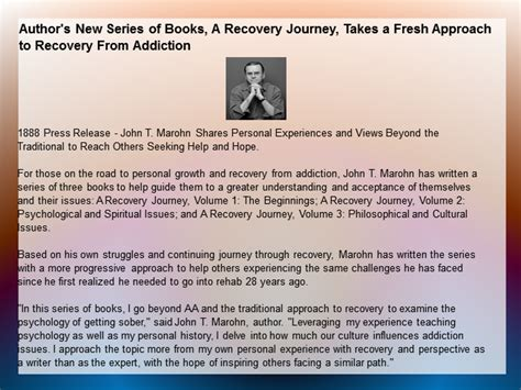 conscious recovery a fresh perspective on addiction books author s new series of books a recovery journey takes a