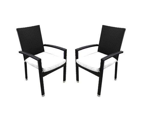 Resin Wicker Dining Chairs Set Of 2 Black Resin Wicker Outdoor Patio Furniture Dining Chairs White Cushions And