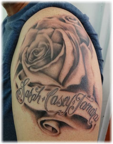 rose tattoo with names tattoos with names wip bill s scroll names