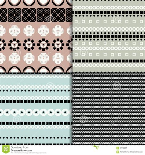 Pattern Made Up Of Lines Or Bands | abstract seamless pattern set stock vector image 69762297