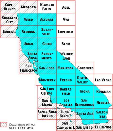 california quadrangle map geochemistry of california nure hssr data