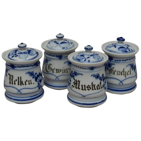 Decorative Spice Jars Set Of Four Bavarian Blue And White Ceramic Spice Jars