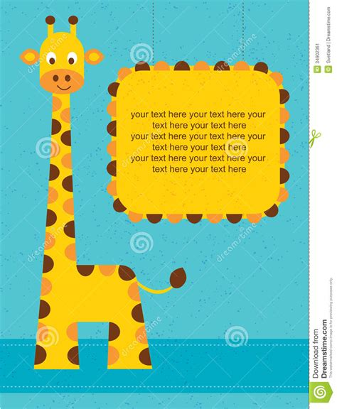 printable birthday cards giraffe baby shower card birthday card with giraffe stock