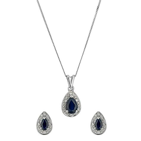 9ct white gold and sapphire pendant and earrings