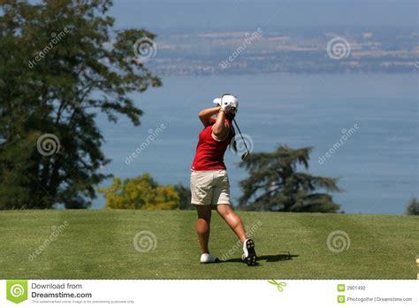 lady golf swing lady golf swing at leman lake stock photography image