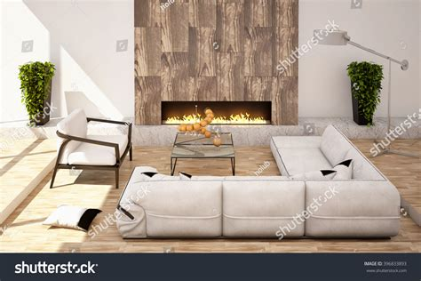 family room with sectional and fireplace living room fireplace big sofa armchair stock illustration