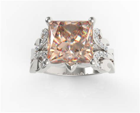 princess cut morganite engagement ring unique ring design
