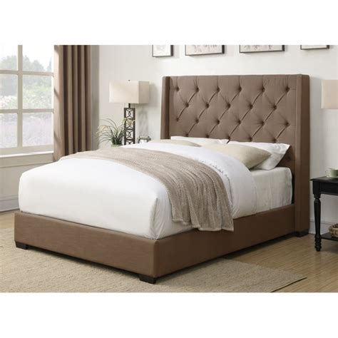 Shelter Bed by Pri Contemp Shelter Upholstered Bed In Taupe Ds