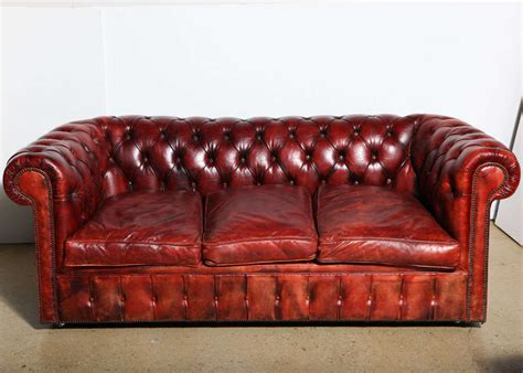 Chesterfield Sleeper Sofa Mahogany Leather Chesterfield Sleeper Sofa And Loveseat At 1stdibs
