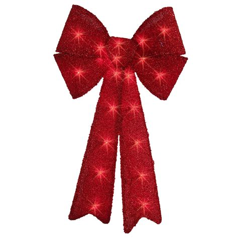 trim a home 174 24 quot red tinsel lighted bow with 20 lights