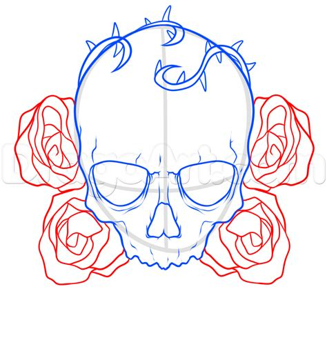 how to draw a skull and roses tattoo step by step