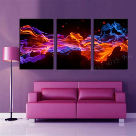 home decor canvas art 2016 3 panels fire flower hd canvas print painting artwork