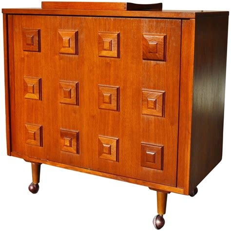 Open Bar Cabinet Fab Mad Walnut Swivel Open Bar Cabinet Stacked Squares Molding Detail At 1stdibs