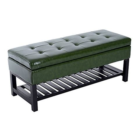 green storage bench homcom 44 quot pu leather tufted shoe rack ottoman storage