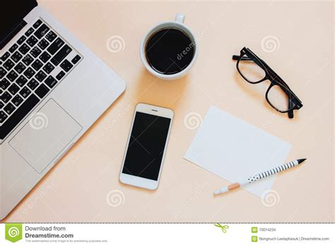 creative flat lay photo of workspace desk stock photo