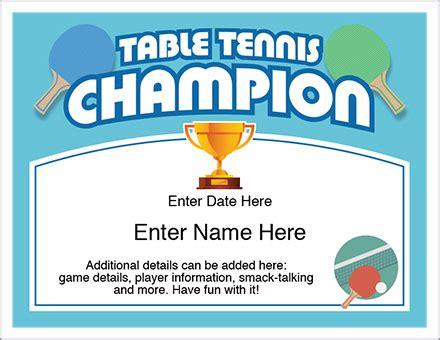 table tennis champion certificate free award certificates