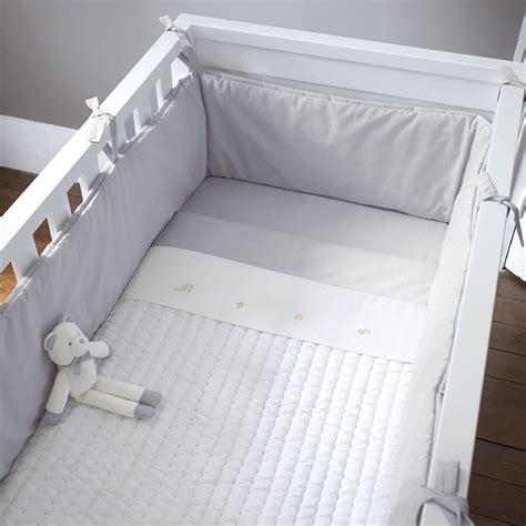 tour de lit entier 70x140 cm mixte gris blanc jacadi