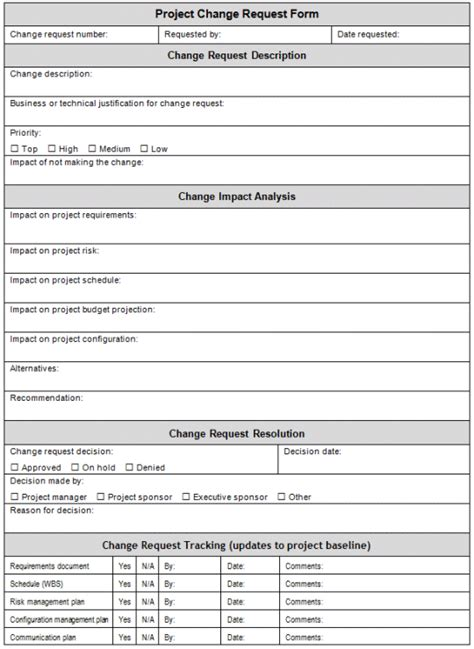 project management form templates managing change