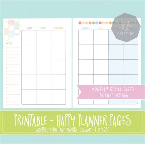 printable planner refills happy planner printable monthly planner refills inserts 7