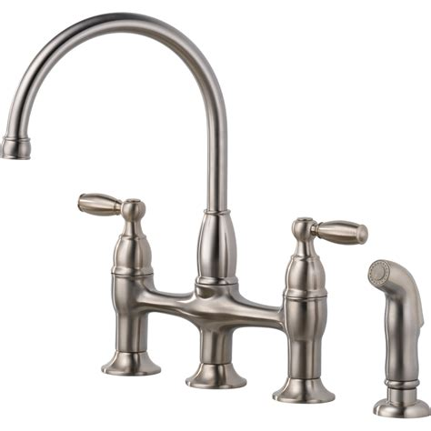 shop delta dennison stainless high arc kitchen faucet with side spray at lowes com