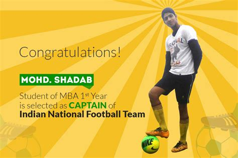 Mba In Football Management In India by Mohd Shadab Student Of Mba 1st Year Is Selected As