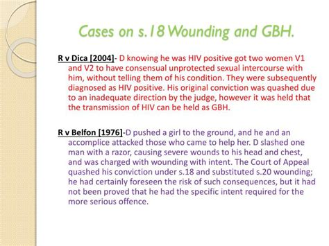 section 18 wounding with intent likely sentence ppt non fatal offences powerpoint presentation id 1928207