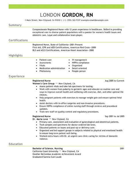 resume format for nurses best registered resume exle livecareer