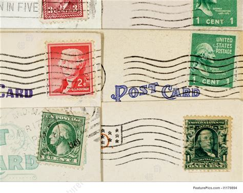 postcard rubber st antique postcards and cancelled sts stock photo