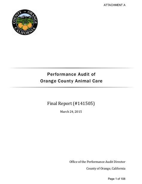 orange county pound ocac audit of orange county animal care shelter march 2015