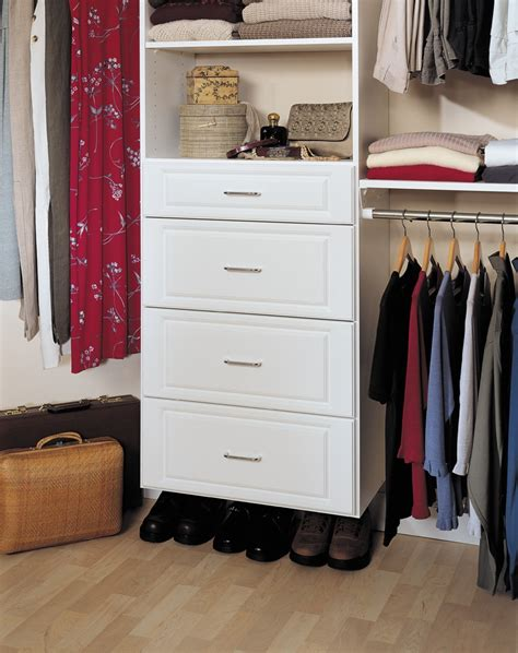 white closet tower with drawers